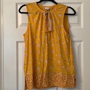 Lucky Brand NWT Yellow Floral Sleeveless Medium